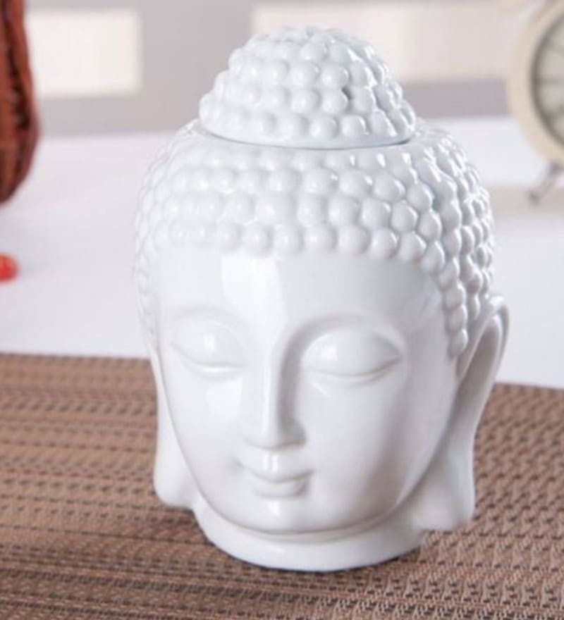 White Ceramic Buddha Oil Burner Tealight by Skycandle