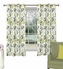 Green & Grey Polyester & Cotton Floral Window Curtain - Set of 2 by Skipper