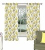 Skipper Green Polyester & Cotton Nature & Floral Window Curtain - Set of 2
