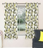 Skipper Green Polyester & Viscose Triangles Pattern Window Curtain - Set of 2