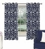 Skipper Navy Blue Viscose & Polyester Nature & Floral Window Curtain - Set of 2