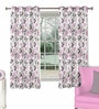 Skipper Purple Polyester & Cotton Nature & Floral Window Curtain - Set of 2