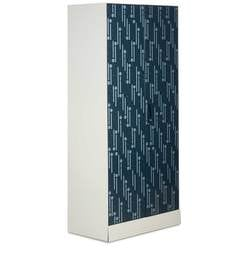 Slimline Two Door Wardrobe With Locker & Drawer In Metallic Blue Color By Godrej Interio