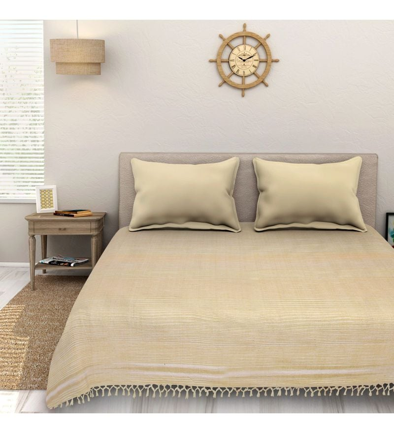 Sleep Sure Beige Cotton 100 x 108 Inch Yarn Dyed Handloom Bed Cover
