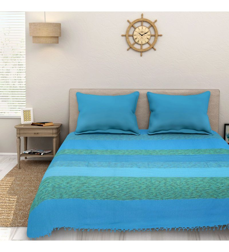 Sleep Sure Blue Cotton 100 x 108 Inch Yarn Dyed Handloom Bed Cover