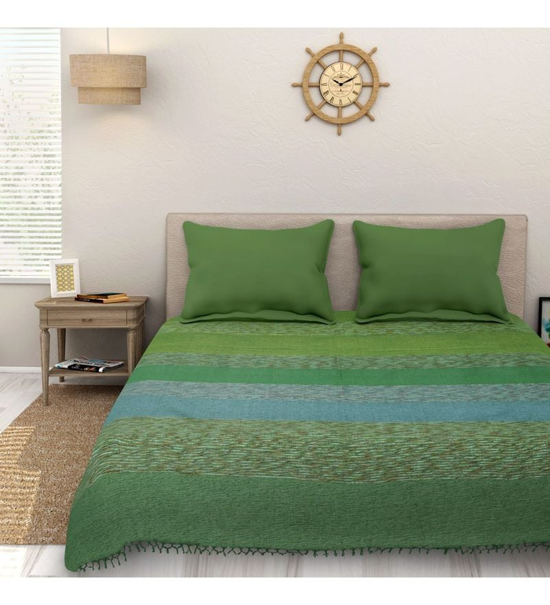 Sleep Sure Green Cotton 100 x 108 Inch Yarn Dyed Handloom Bed Cover