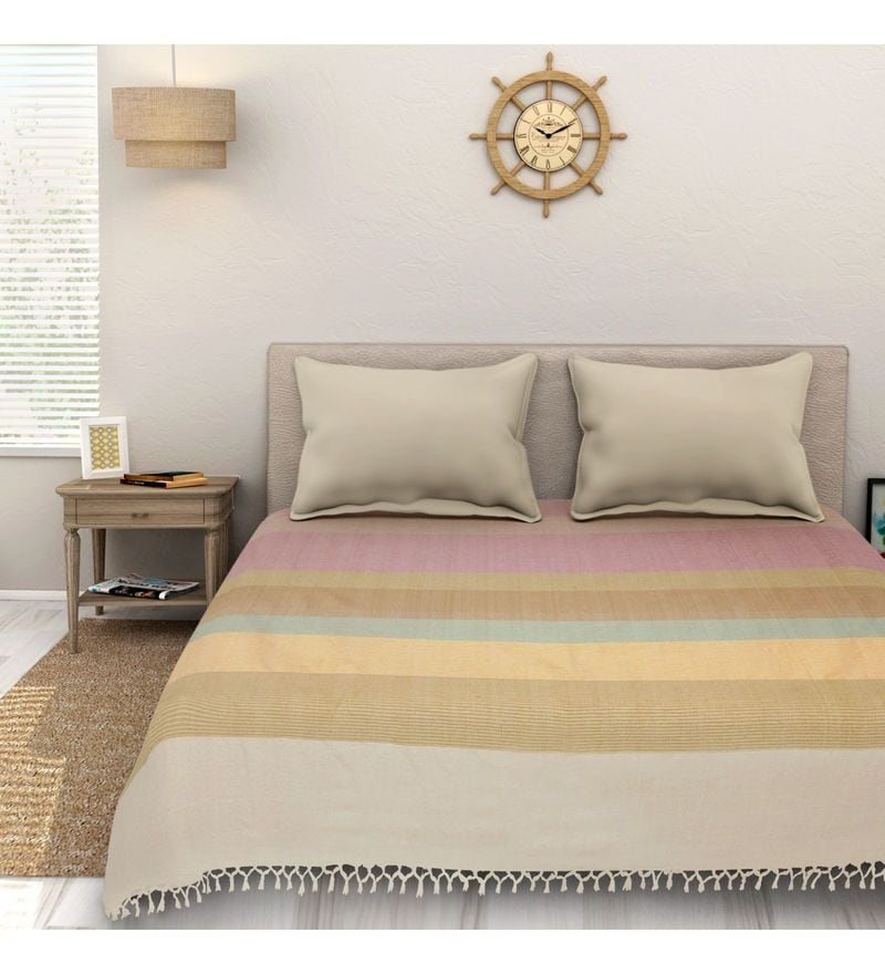 Sleep Sure Multicolour Cotton 100 x 108 Inch Yarn Dyed Handloom Bed Cover