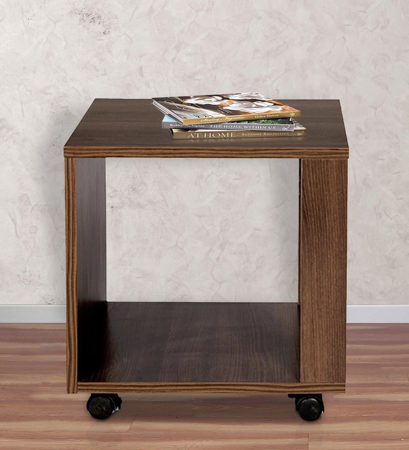 Slim End Table in Acacia Dark Matt Finish by Debono