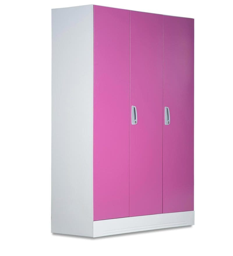 Buy Slimline Three Door Wardrobe With Locker In Purple
