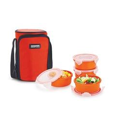 Smart Lock Airtight Tiffin Box With Insulated Bag Melamine Dark Orange Set Of 4