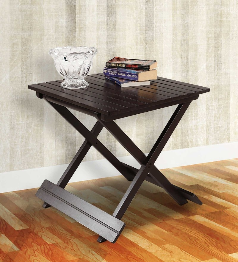 Foldable End Table in Brown Finish by ARRA
