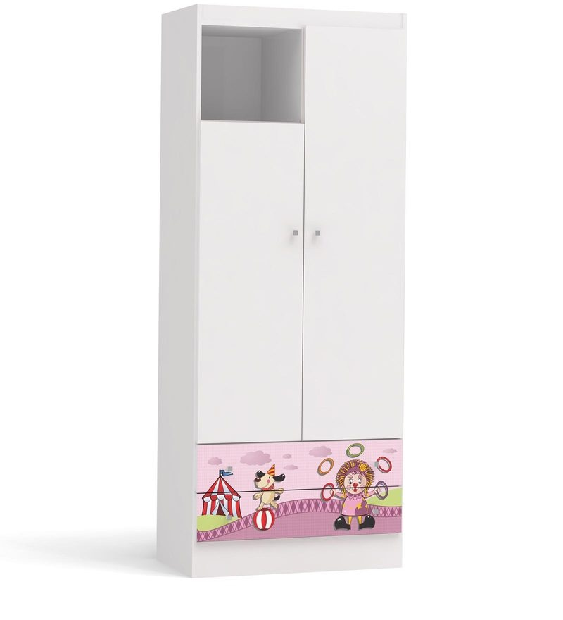 McBubbles Small Two Door Wardrobe with Two Drawers in Pink Colour by Mollycoddle