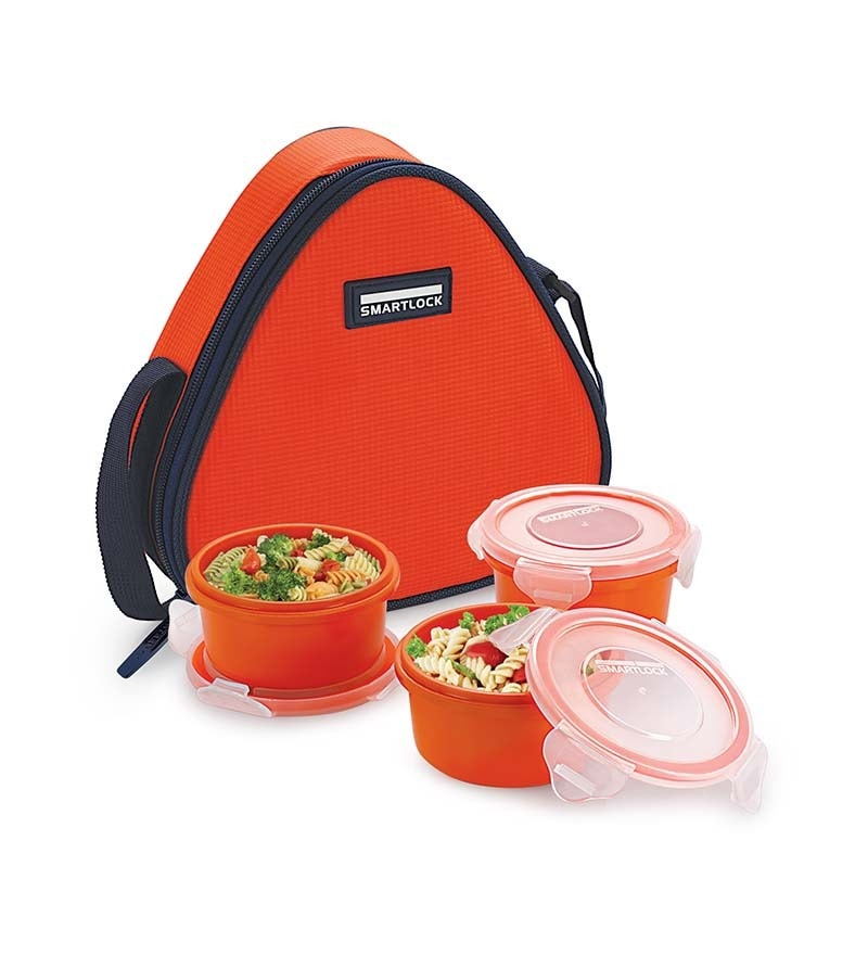 Smart lock   Airtight  Tiffin Box With   Insulated Bag   Melamine  Dark Orange  Set of 3