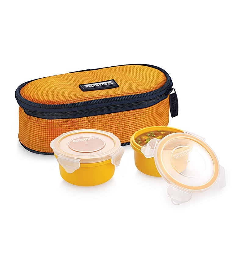 Smart lock  AirtightTiffin Box With   Insulated BagMelamine Yellow Set Of 2