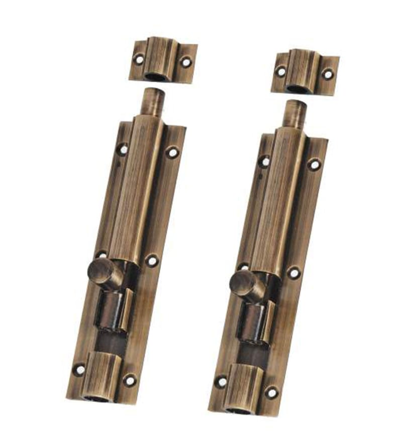 Smartshophar Brass 1.5 x 2 x 6 Inch Plain Tower Bolt - Set of 2