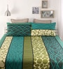 Snuggles Green Cotton Queen Size Bed Sheet - Set of 3