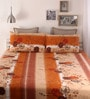 Orange Cotton Queen Size Bed Sheet - Set of 3 by Snuggles