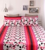 Snuggles Pink Cotton Queen Size Bed Sheet - Set of 3