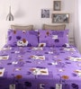Purple Cotton Queen Size Bed Sheet - Set of 3 by Snuggles