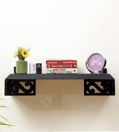 Solid Wood Multipurpose Wall Shelf For Home & Office In Brown Colour