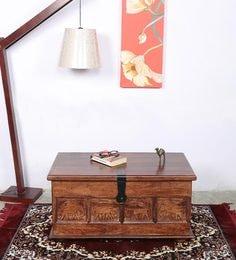 Solid Wood Trunk Box Cum Coffee Table In Walnut Finish
