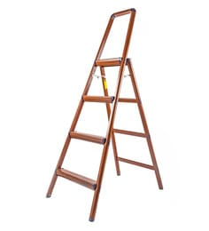 Solo Wooden Finish Aluminium 4 Steps 5.3 Ft Light Weight Ladder