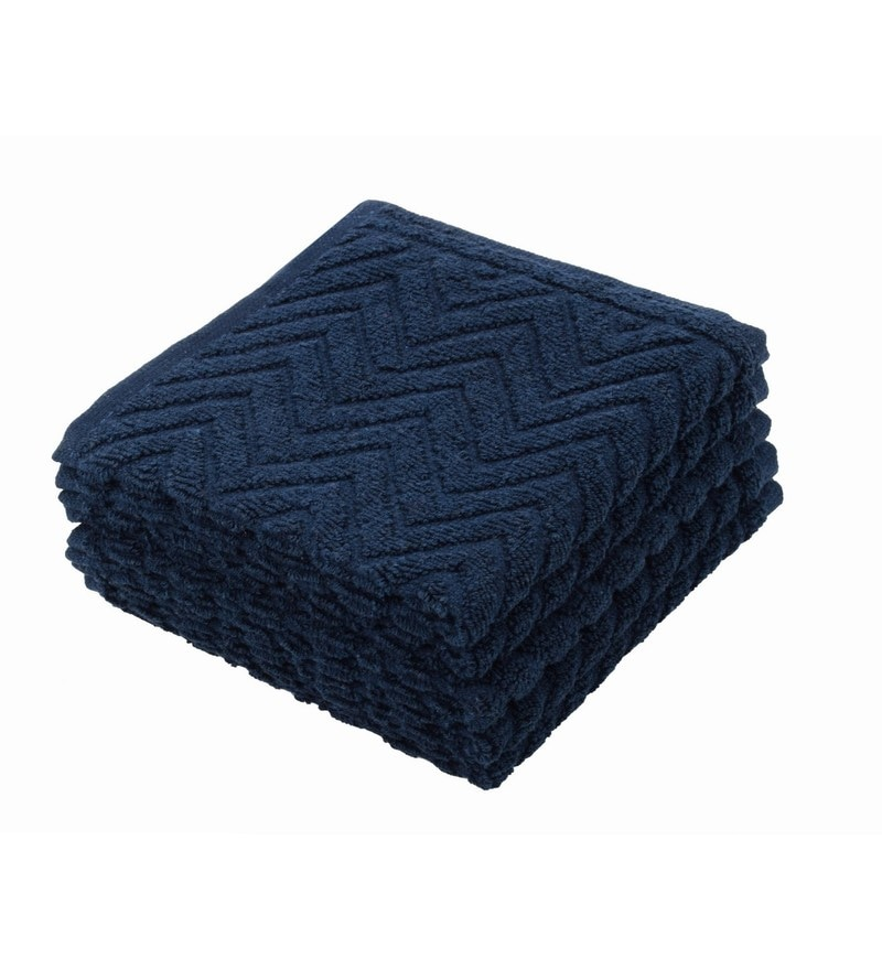 Blue 100% Cotton 12 X12 Face Towel - Set of 5 by Softweave