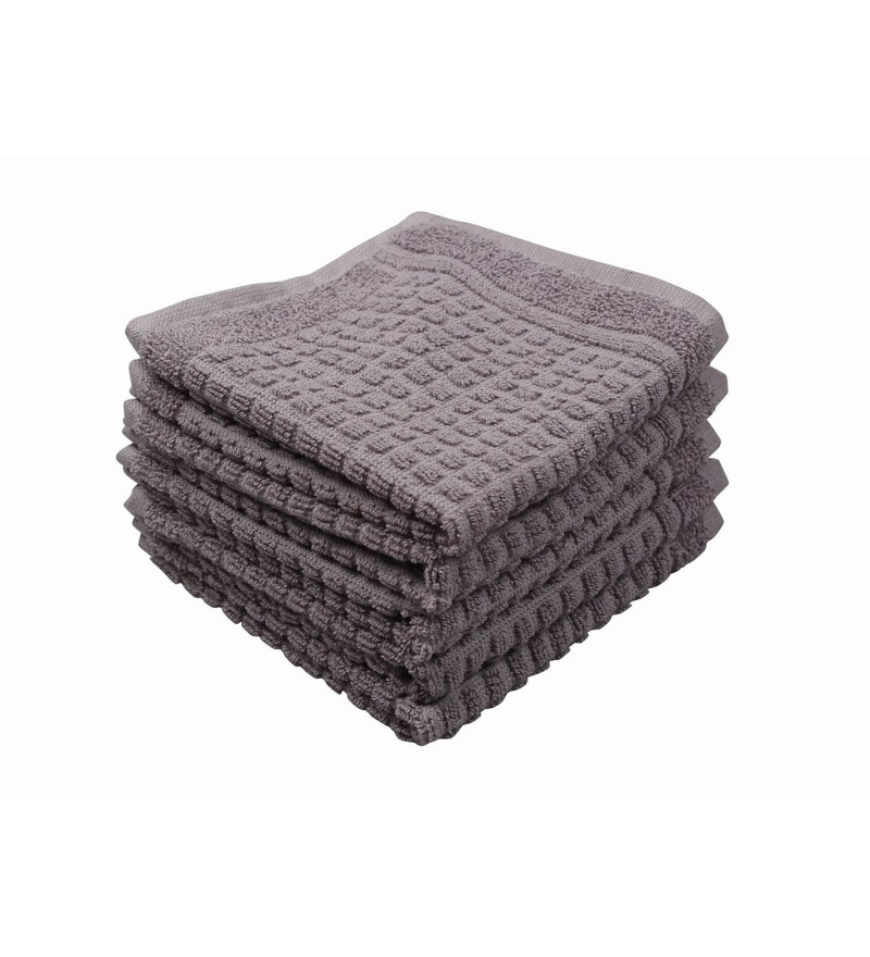 Grey 100% Cotton 12 X12 Face Towel - Set of 5 by Softweave