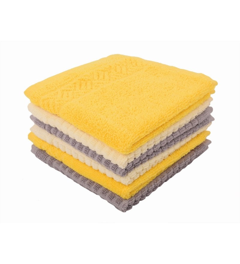 Multicolour 100% Cotton 12 X12 Face Towel - Set of 6 by Softweave