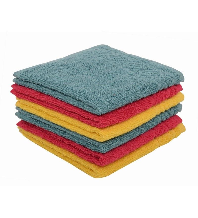 Multicolour 100% Cotton 12 X12 Face Towel - Set of 6 by Softweave
