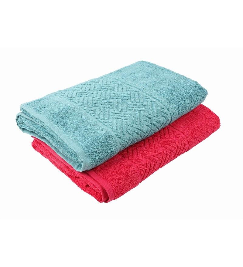 Multicolour 100% Cotton 30 X 60 Bath Towel - Set of 2 by Softweave