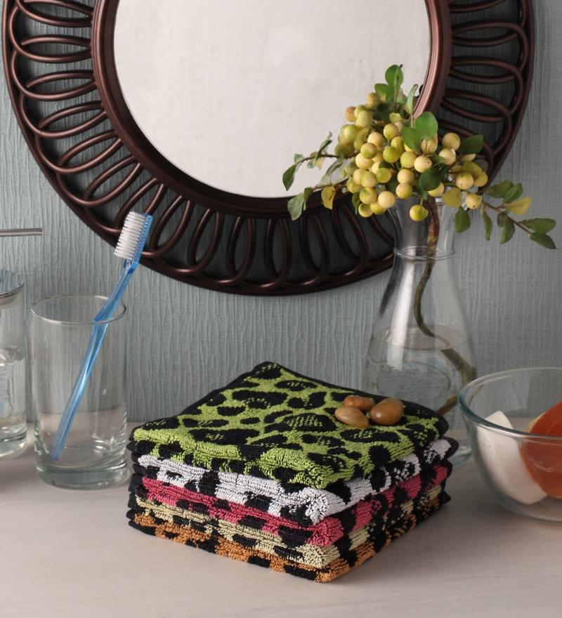 Multicolour Cotton 12 x 12 Face Towel - Set of 5 by Softweave