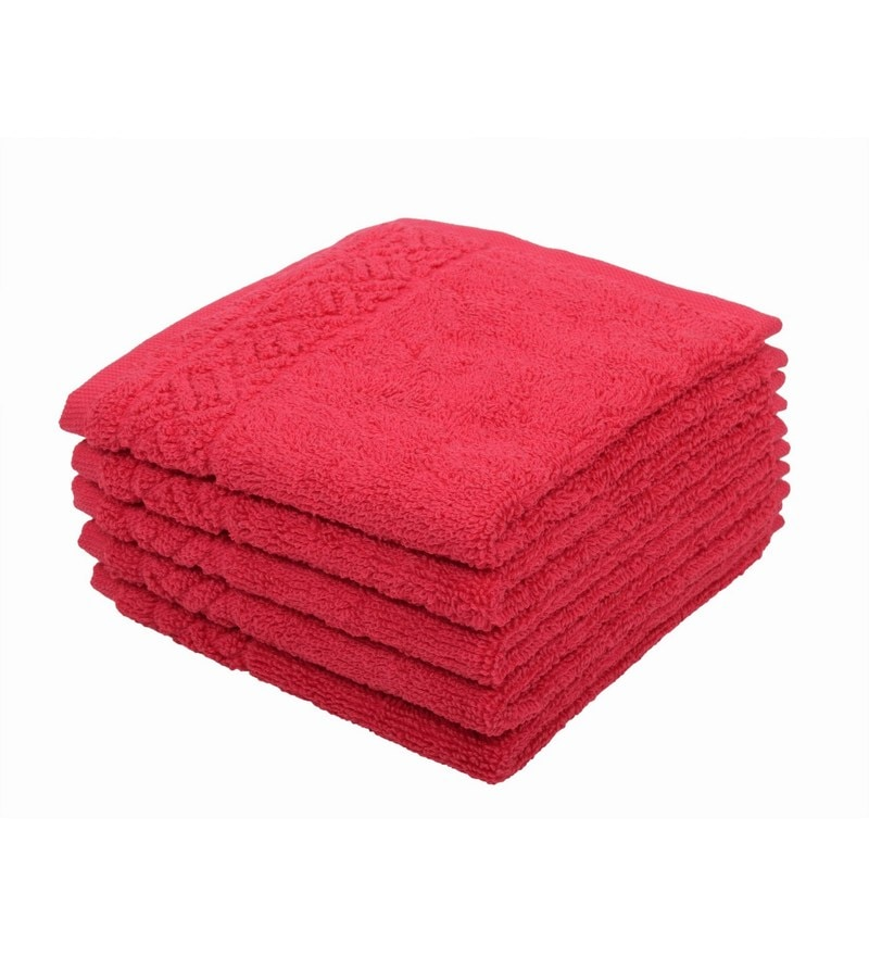 Pink 100% Cotton 12 X12 Face Towel - Set of 5 by Softweave