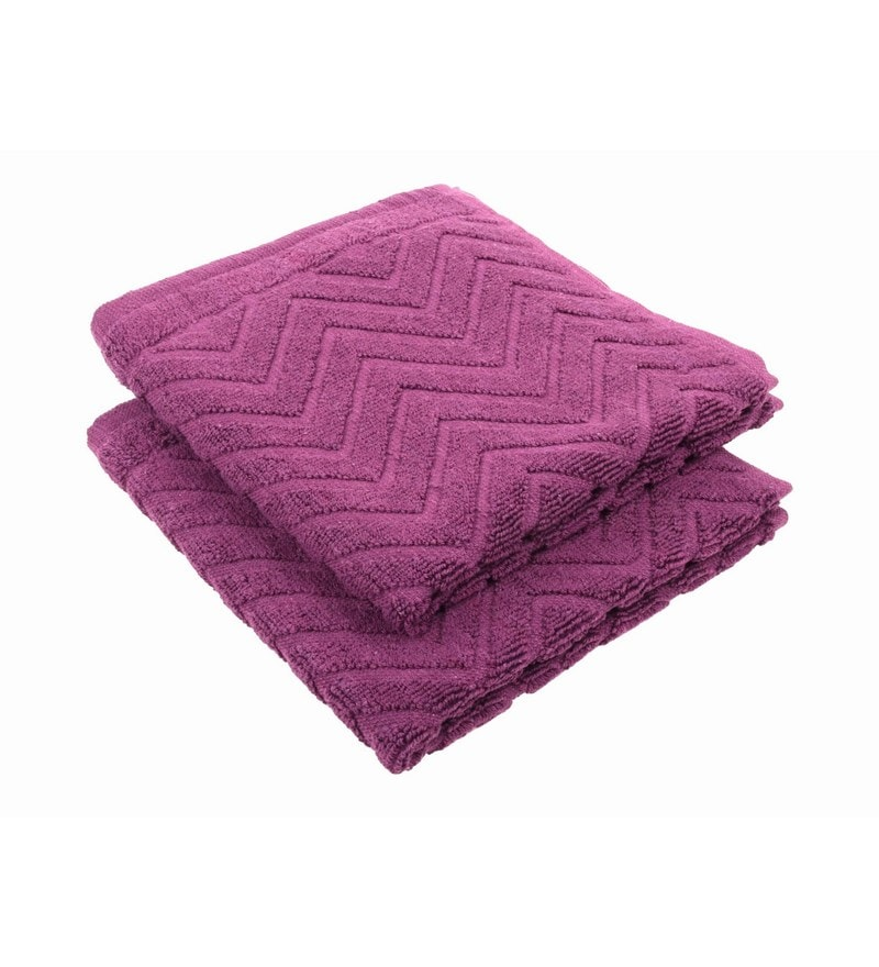 Purple 100% Cotton 16 X 24 Hand Towel - Set of 2 by Softweave