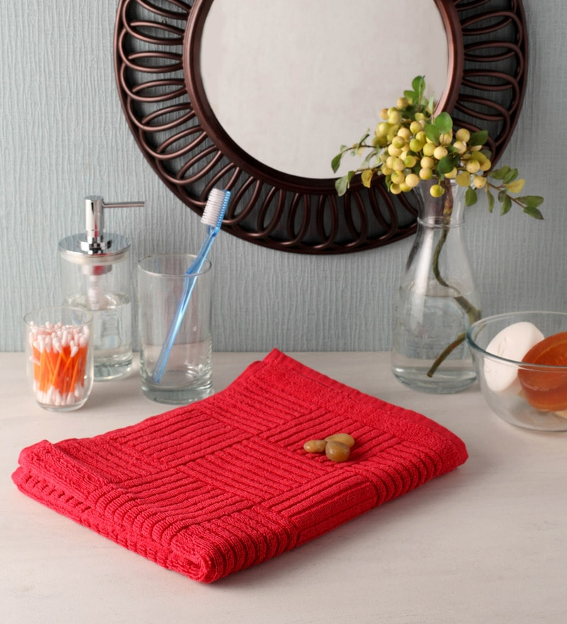 Red Cotton 35 x 20 Hand Towel by Softweave