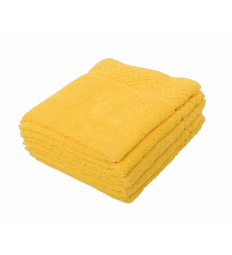 Yellow 100% Cotton 12 X12 Face Towel - Set of 5 by Softweave