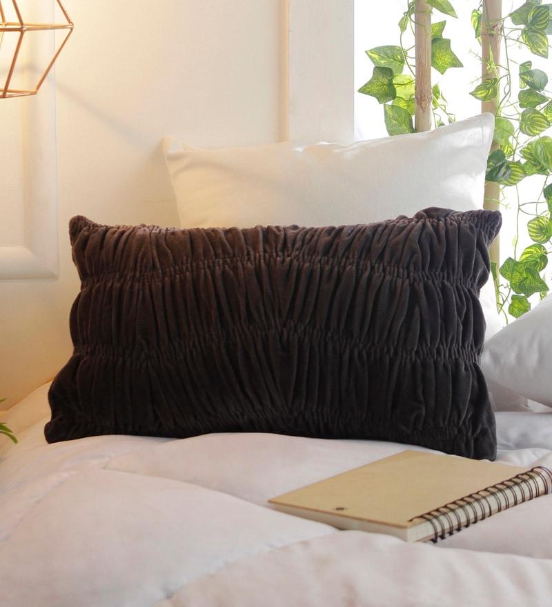 Solaj Black Cotton 12 x 18 Inch Velvet Cushion Cover