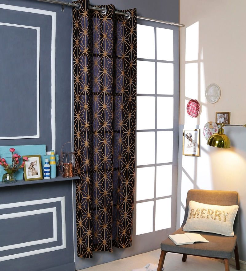 Black Cotton 42 x 88 Inch Eyelet Door Curtain by Solaj