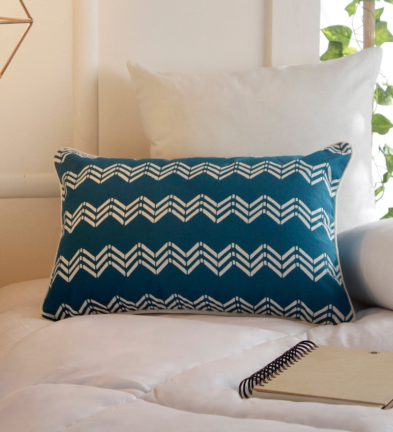 Blue Cotton 12 x 18 Inch Embroidery Cushion Cover by Solaj