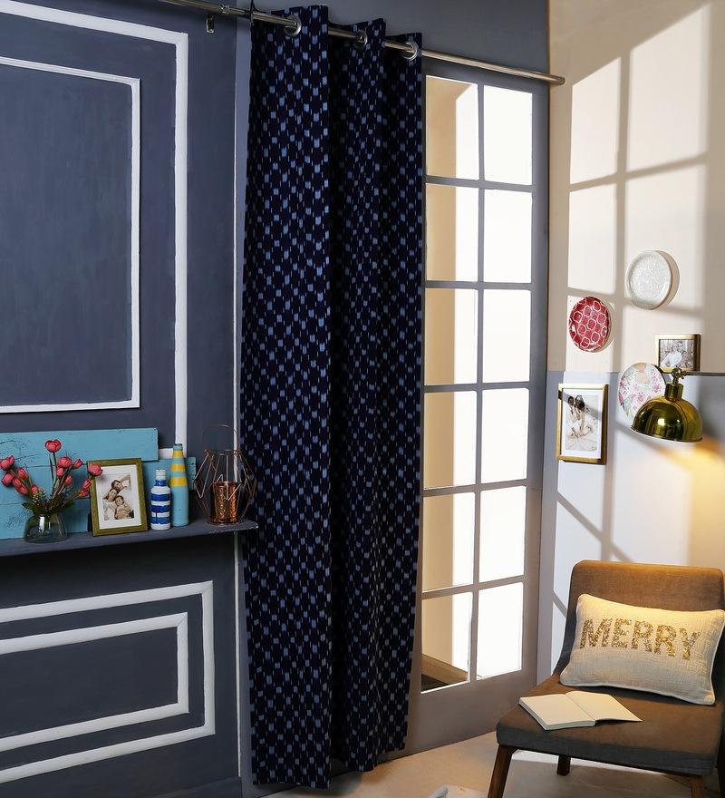 Blue Cotton 42 x 88 Inch Eyelet Door Curtain by Solaj