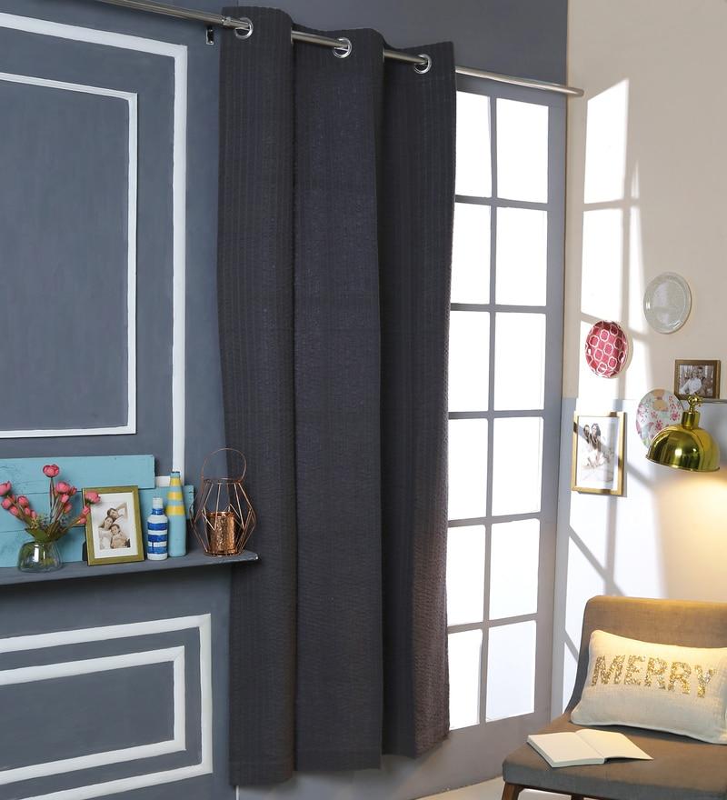 Dark Grey Cotton 42 x 88 Inch Eyelet Door Curtain by Solaj