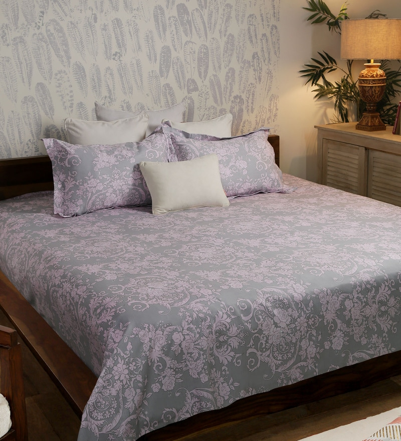 Grey Cotton Queen Size Bed Sheet - Set of 3 by Solaj