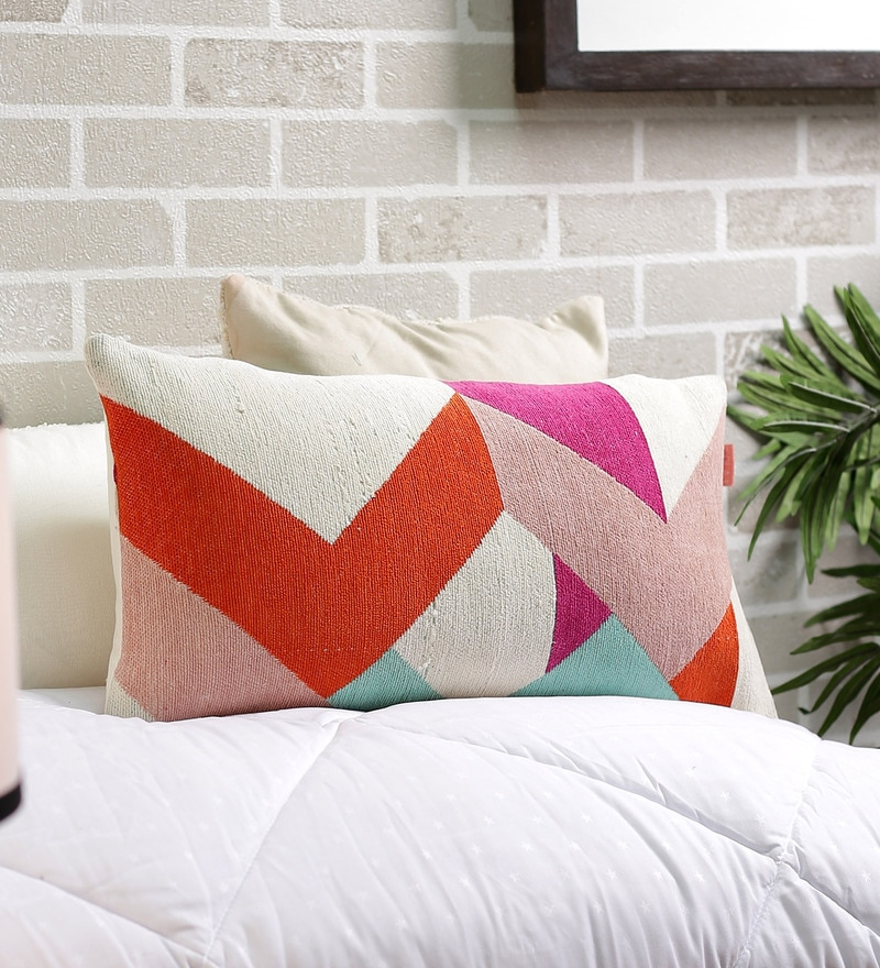 Multicolour Cotton 12 x 22 Inch Embroidered Cushion Cover by Solaj