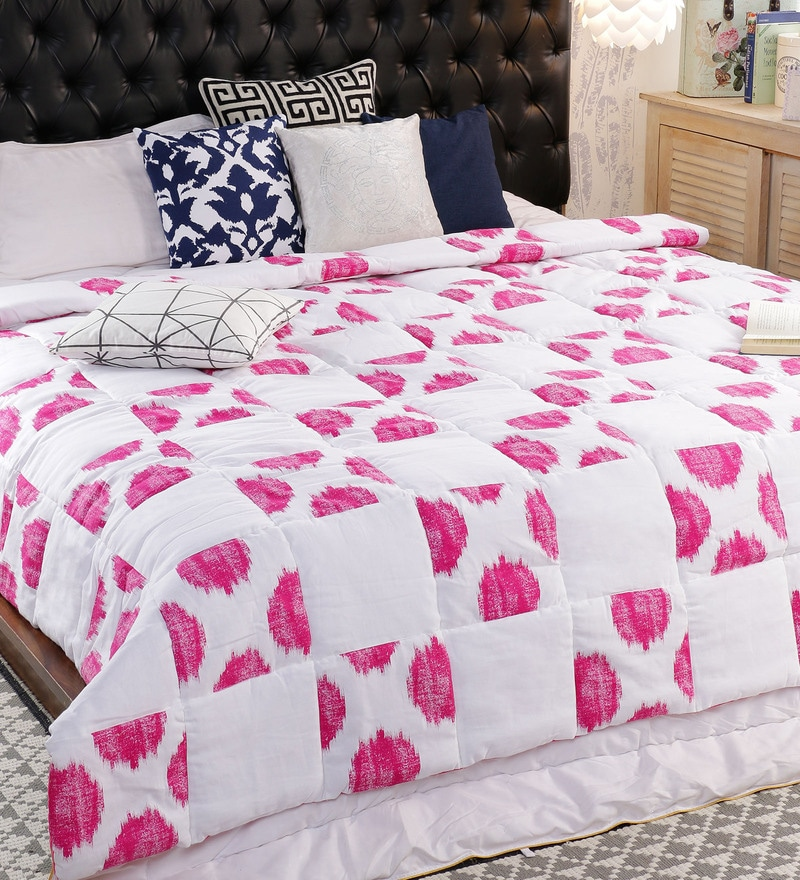 Pink 100% Cotton Double Size Comforter by Solaj