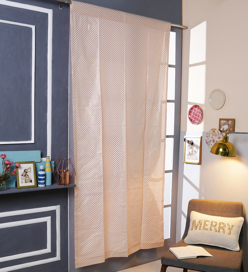 Pink Cotton 42 x 88 Inch Rod Pocket And Smock Band Door Curtain by Solaj