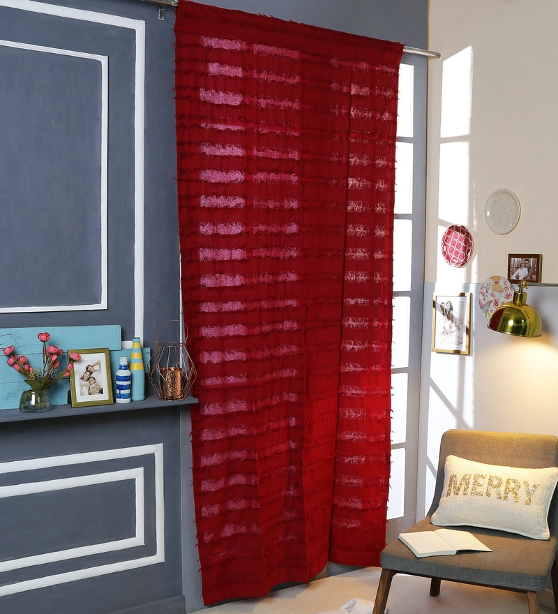 Red Cotton 42 x 88 Inch Rod Pocket And Smock Band Door Curtain by Solaj