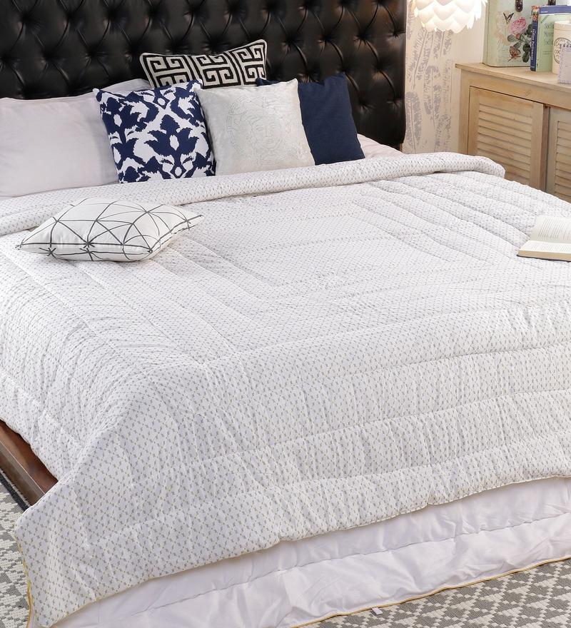 Yellow 100% Cotton Double Size Comforter by Solaj