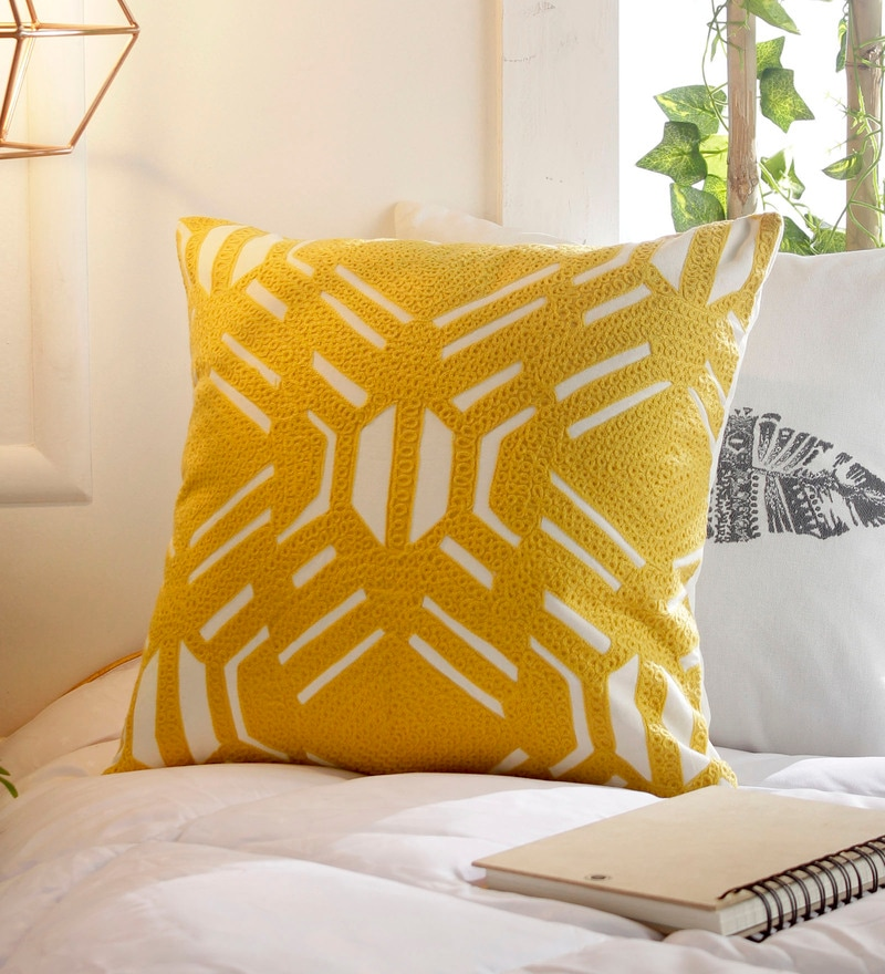 Yellow Cotton 16 x 16 Inch Embroidery Cushion Cover by Solaj