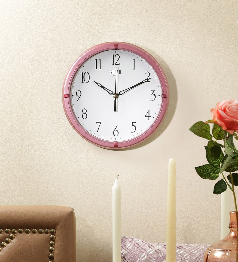 Pink Plastic 10 Inch Round Wall Clock by Solar