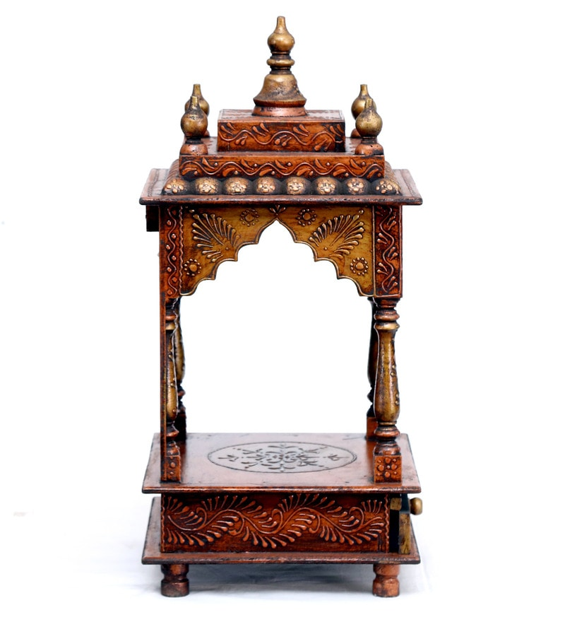 Buy Solid Wood Pooja Mandir for Home & Office in Copper Finish by D ...